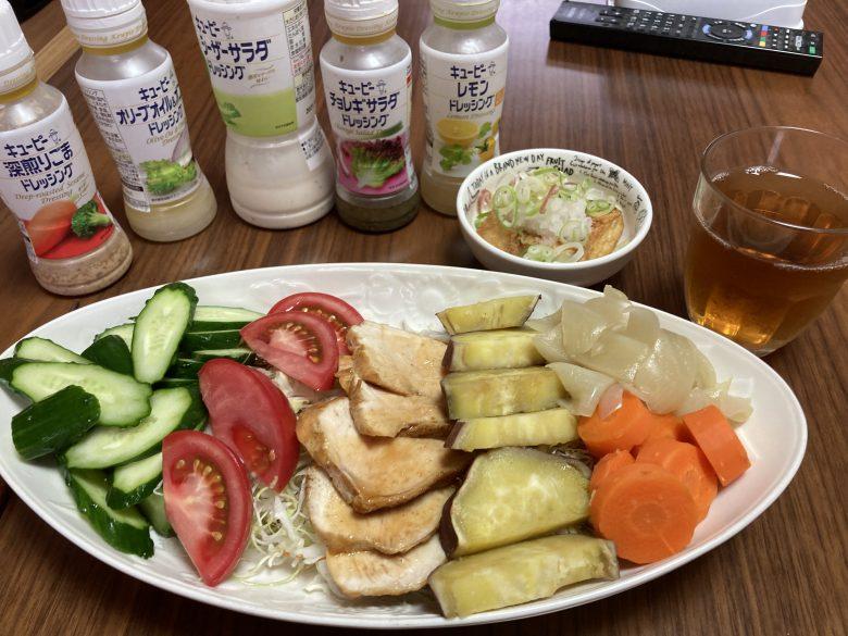 ・照り焼きチキン(鶏胸肉)・温野菜サラダ・鳴門金時 2021・6・13