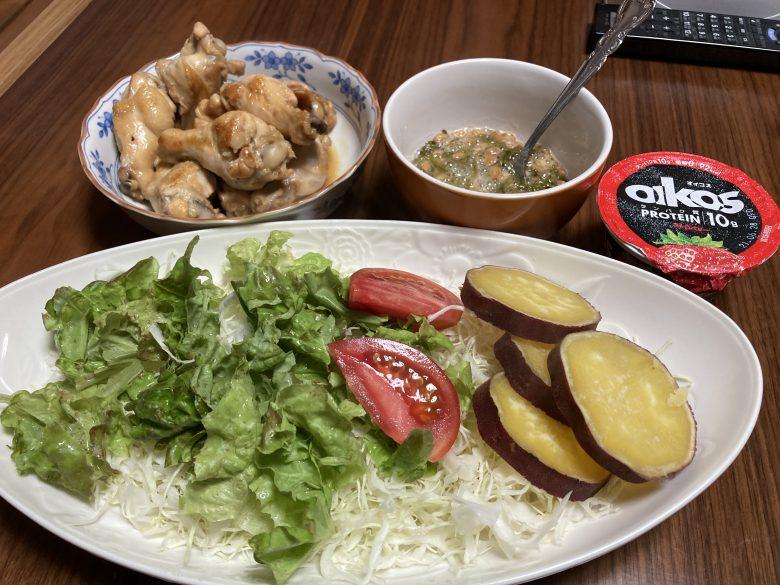 ・サラダ・手羽元さっぱり煮・鳴門金時 2021・6・18